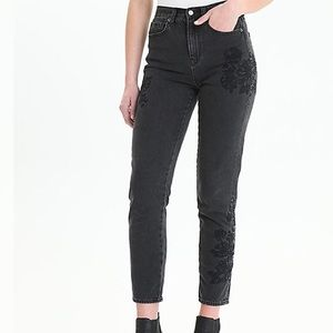 American Eagle High-Rise Embroidered Mom Jeans